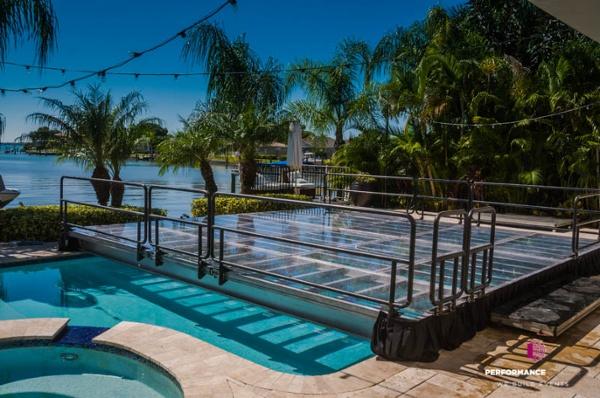 20' x 20' clear acrylic dance floor pool cover