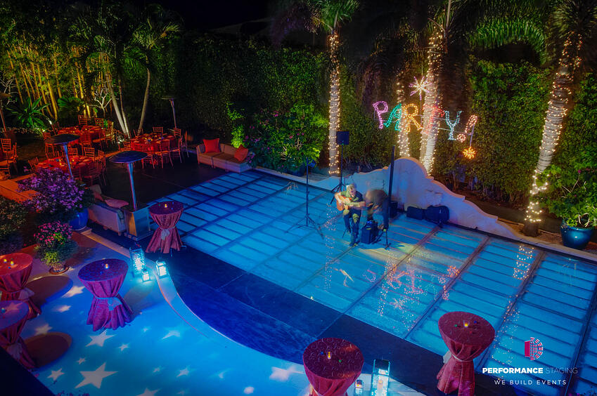 Venue With A Custom Pool Cover Dance Floor