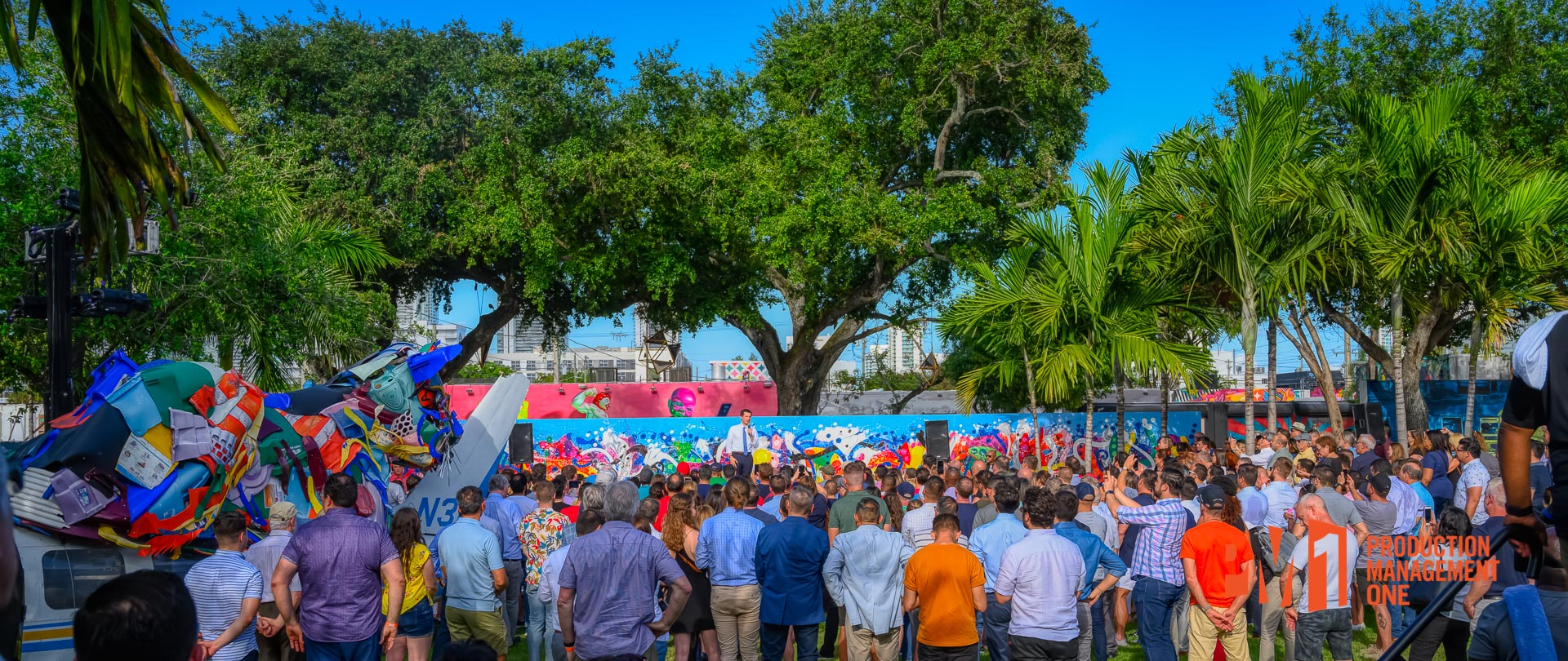 A full crowd fills out a main courtyard at Wynwood Walls for a presidential candidate's speech