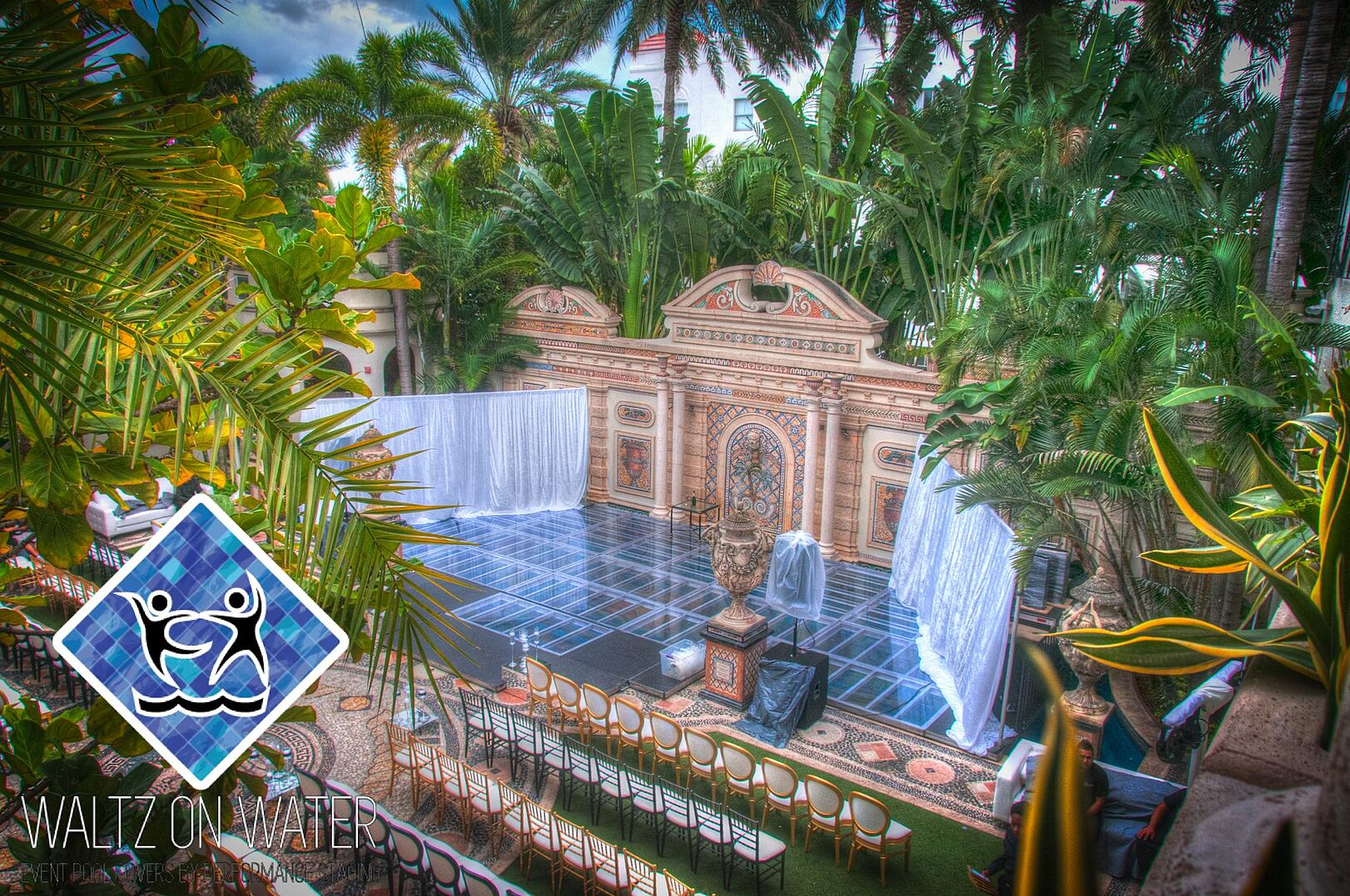 Waltz on Water by Performance Staging Pool cover at the former Versace Mansion, Villa Casa Casuarina
