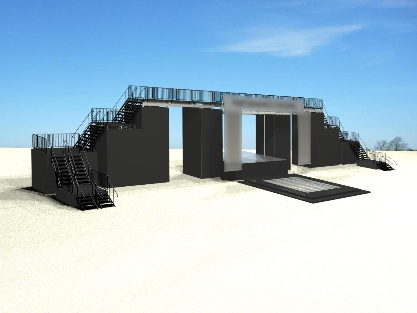 Mobile stage with platforms rising above and around