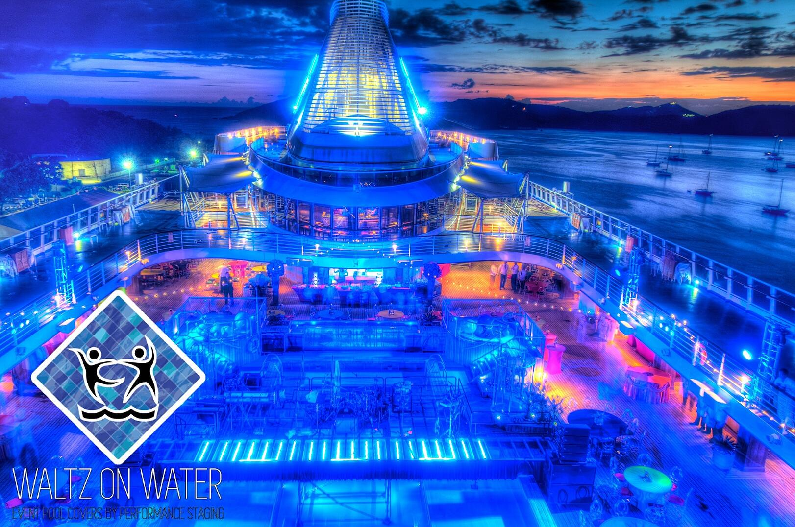 Waltz on Water by Performance Staging Pool cover on a cruise ship, St. Thomas, USVI
